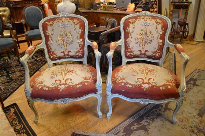 Antique Victorian Needlepoint Armchairs