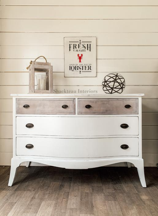 Vintage Coastal White Dresser