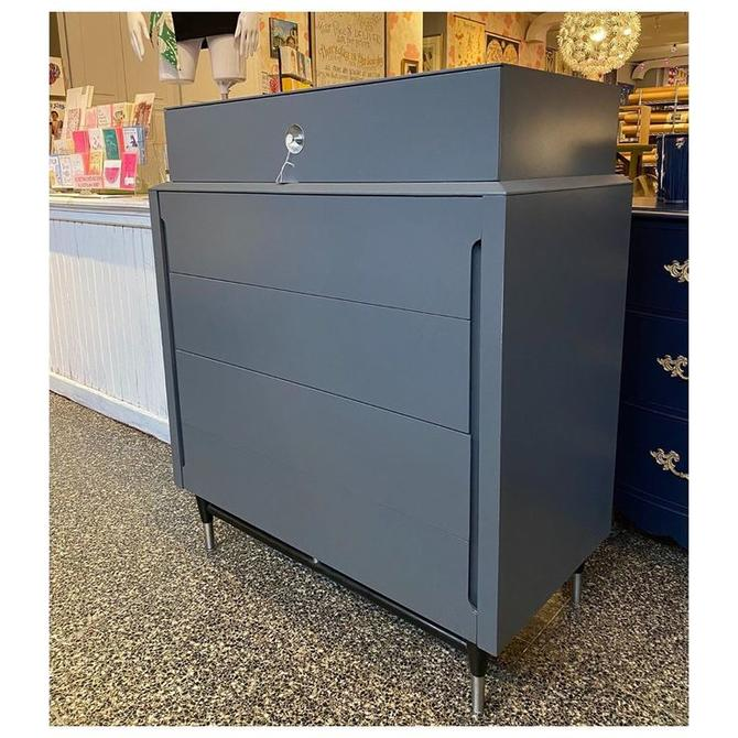 """MCM Gray painted chest / chrome legs legs / 5 drawer chest 38"""" wide / 19.5"""" deep / 45"""" tall"""