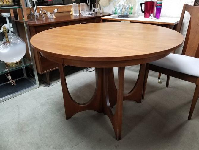 Mid Century Modern Round Walnut Dining Table With One 12 Leaf From The Brasilia Collection By Broyhill From Peg Leg Vintage Of Beltsville Md Attic
