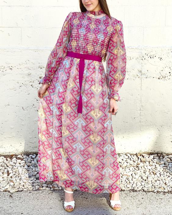 70's Hot Pink Geometric Maxi Dress