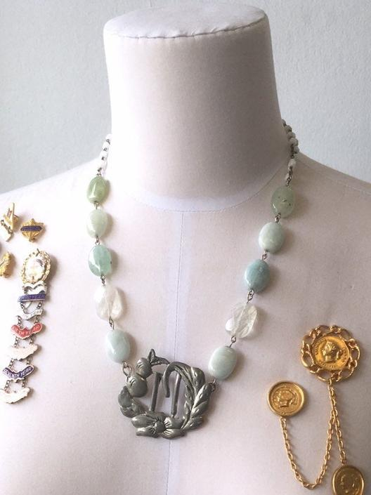 Accounting For Memories [assemblage necklace: vintage buckle, quartz, aquamarine, vintage rosary chain] by nonasuch
