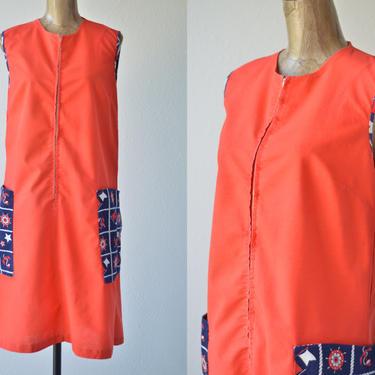 60s Vintage Orange Sailor Smock Dress, Sleeveless Zip Front Novelty Jumper Midi Dress, Nautical Patriotic Shift Housedress Cotton Housecoat by MOBIUSMOD