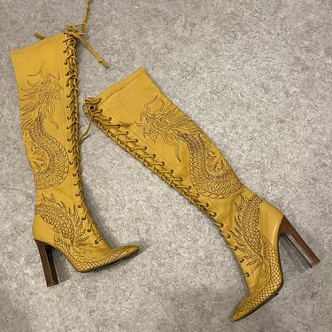 Cavalli Dragon Embroidered Thigh Highs