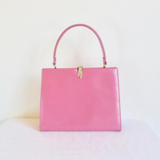 Vintage 1960's Pink Leather Structured Purse Top Handle Trapezoid Shape Gold Closure Hardware Mod Mid Century 60's Handbag Andrew Geller by seekcollect
