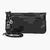 Loewe - Black Textured Leather Crossbody Wallet w/ Lock