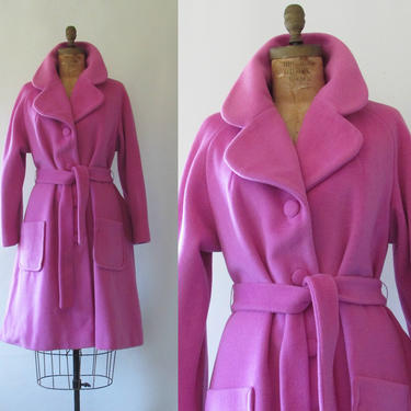 LILLI ANN  Vintage 50s Coat | 1950s Raspberry Pink Belted Full Swing Wool Trench | San Francisco Designer, 60s 1960s  | Size Medium to Large by lovestreetsf