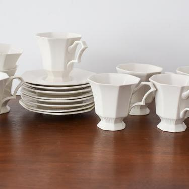 Set of 8 Vintage White Independence Ironstone TeaCups and Saucers by CapitolVintageCharm