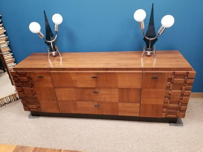 Mid-Century Modern brutalist style nine drawer dresser