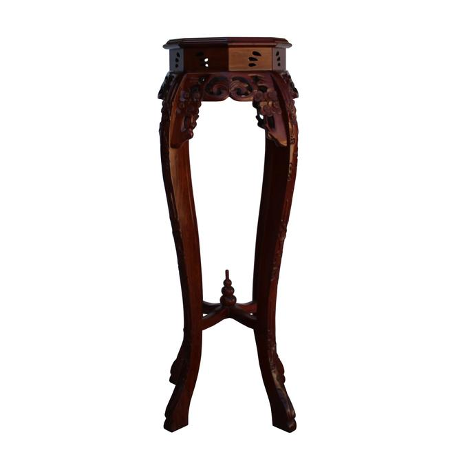 Chinese Medium Brown Octagonal Blossom Flower Curved Legs Plant Stand cs5250S