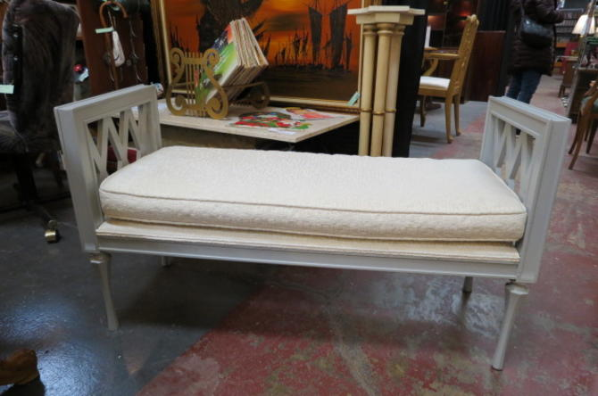 Vintage Mid century modern gray painted wood bench