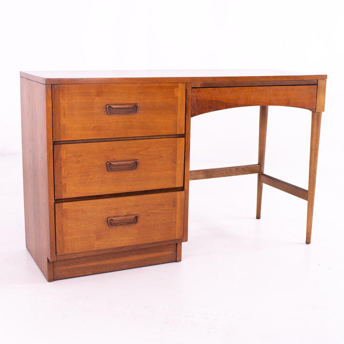 Andre Bus for Lane Acclaim Mid Century Dovetailed Walnut and Formica Single Sided Desk - mcm by ModernHill