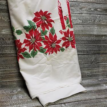 Vintage Christmas Tablecloth, Christmas Candelabra, Holiday Poinsettia Tablecloth, Mid Century Table Linen, Vintage Christmas Decoration by AGoGoVintage