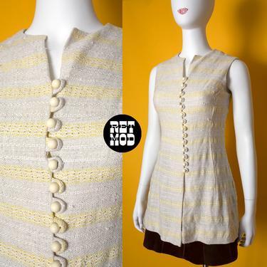 JUNIOR SIZE - Vintage 60s 70s Cream & Yellow Stripe Tweed Long Mod Vest Top by RETMOD