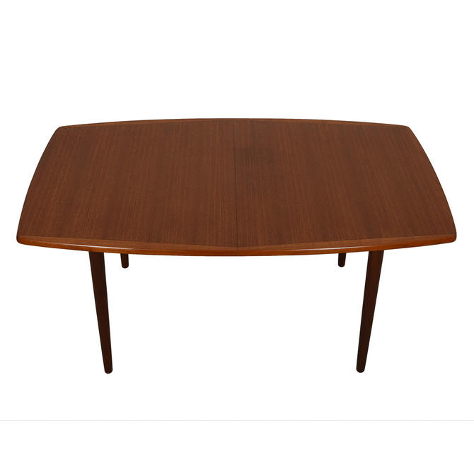Norwegian Teak Expanding Curved Edge Dining Table From