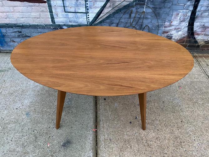 Knoll modern elliptical dining table desk kitchen walnut mid century Risom Florence knoll by symmetrymodern