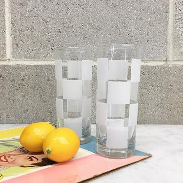 Vintage Glasses Set Retro 1980s  Checkered Print + White and Clear + Set of 2 + Tall + Tumblers + Drinkware + Home and Kitchen Decor by RetrospectVintage215