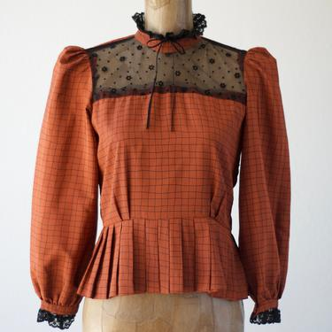 40s Style Vintage PEPLUM BLOUSE, Rust Red Windowpane Silky Polyester Black Lace Bow Collar Sheer Lace Yoke Bodice Pleated Hem Puffed Sleeves by MOBIUSMOD