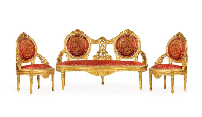 French Chair *3 Piece Set* French Settee Vintage Furniture Antique Baroque Furniture Rococo Interior Design Vintage Chair by SittinPrettyByMyleen