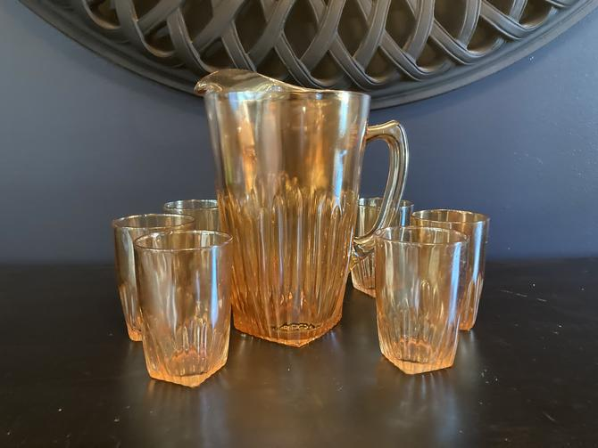 Carnival Glass Pitcher and 6/Glass Set
