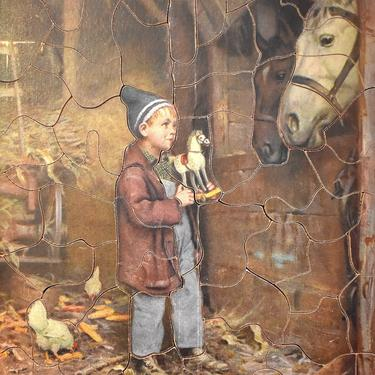 """RARE! Gorgeous 1930s Jig - Saw Picture Puzzle - """"In a Country Barn"""" - 7""""x9"""""""" Puzzle -  63 Pieces - PUZZLE LOVERS! 