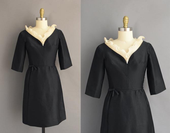 1950s vintage dress | Designer Oleg Cassini Gorgeous Black Cocktail Party Bridesmaid Wedding Dress | Small | 50s dress by simplicityisbliss