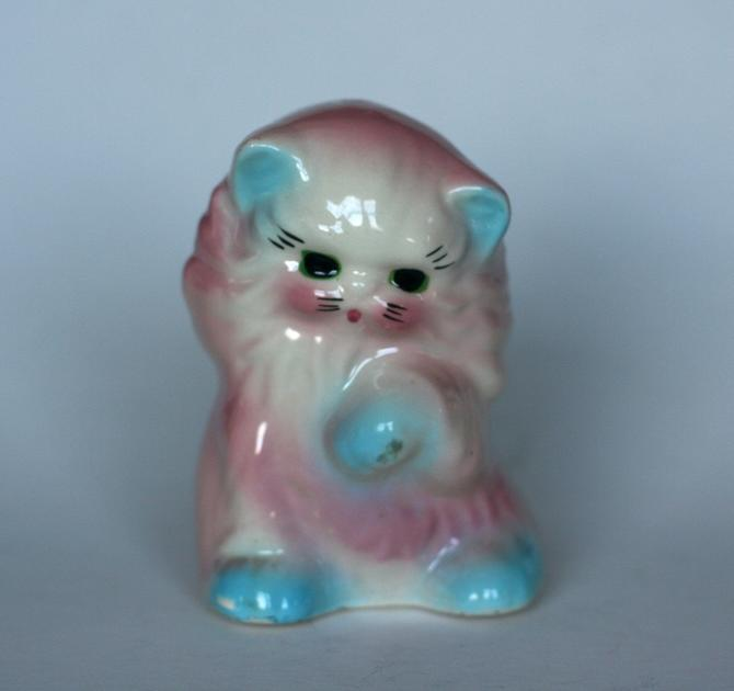 vintage cat planter pink and blue ceramic kitty planter by suesuegonzalas