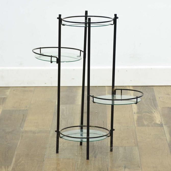 Vintage Modernist Black Frame Plant Stand