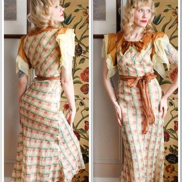 1930s Dress // Spring Plaid Cotton Organdy Dress // vintage 30s dress by dethrosevintage