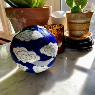 Vintage Cloud Porcelain Carpet Ball, Ceramic Orb, China Sphere - Cobalt Blue White, 5 inch, Chinoiserie Home Decor, Collectible, Bowl Filler by VenerablePastiche