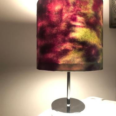 Small Bohemian Accent Lamp with colorful handmade paper wrapped shade. by MadCoolNYC