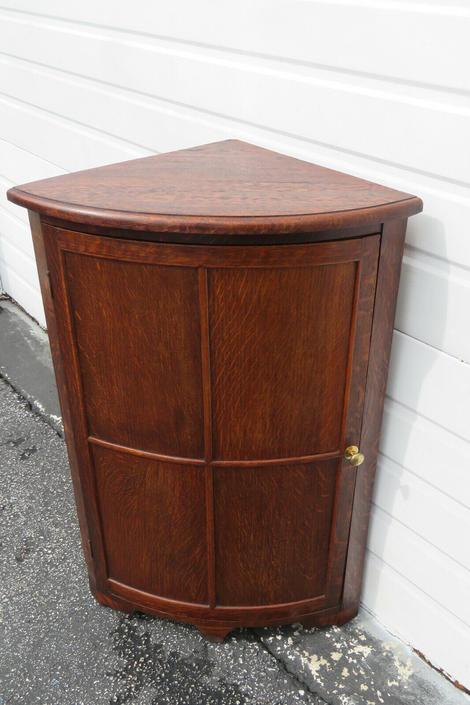 Early 1900s Tiger Oak Small Corner Cabinet 1510