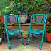 2 folding turquoise bamboo chairs