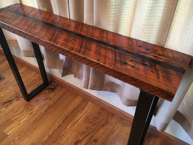 Reclaimed wood sofa table. Industrial sofa table. Industrial console table. Wood and steel table. Industrial media stand. Office table. by UrbanIndustrialNW