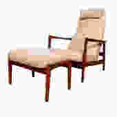 Reclining Swedish Modern Teak Lounge Chair + Adjustable Ottoman