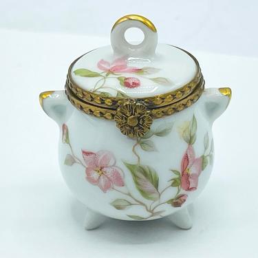 Vintage F M Porcelain Artistique Limoges France Trinket Box Pink Flowers Pot shaped. by JoAnntiques