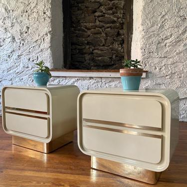 Mid century modern nightstands Milo Baughman nightstand mid century modern side table a pair by VintaDelphia