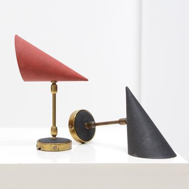 Pair Mid Century Conical Wall Sconce Lamps - Apolinary Galecki, Poland, c. 1950s