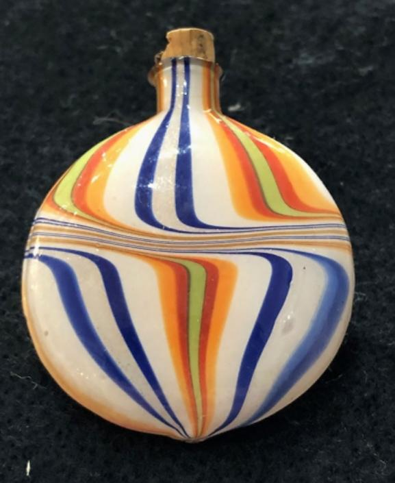 Circa 1920's Murano Style Glass Flat Perfume Jar Hand Blown Swirled Colored Glass