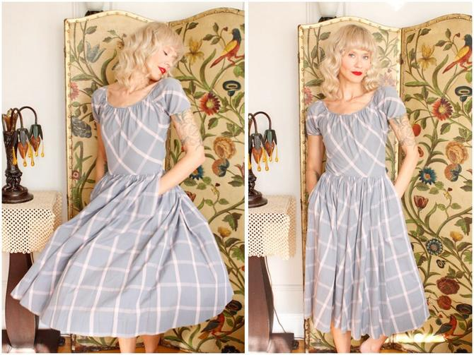 1950s Dress // Iconic & Rare Claire McCardell Window Pane Plaid Dress // vintage 50s dress by dethrosevintage