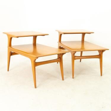 Heywood Wakefield Mid Century Blonde Two Tier Side Step End Tables - Pair by ModernHill