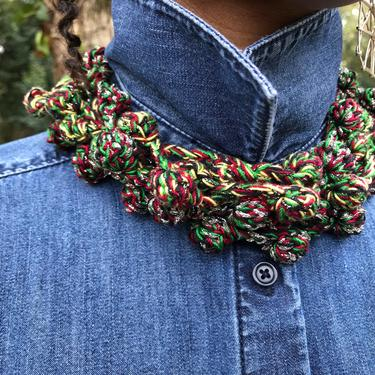 KC Pearls Crochet Necklace in RBG Silver/Crochet Choker/Crochet Headband/Belt/Yarn Accessory in Red Black and Green with Metallic Silver by KonjoCrochet
