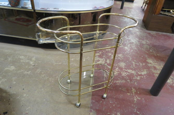 Vintage Mid century modern brass 2 tier bar cart
