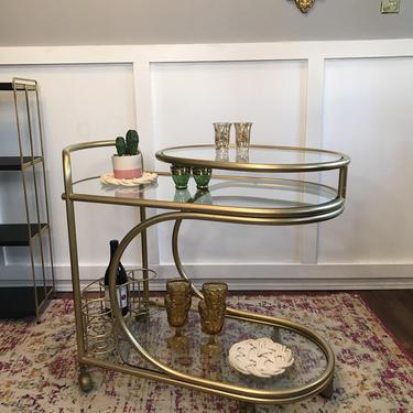Bar Cart, Trolley 80s Tubular Tea Cart Drink Station Serving Cart Rolling Cart, Gilted Gold Metal, Brass and Glass Vintage gold by VintageCoreReStore