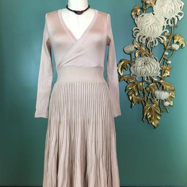 vintage wrap style dress, beige knit dress, sweater dress, size small, fit and flare dress, accordion pleat dress, full skirt dress, 26 by BlackLabelVintageWA