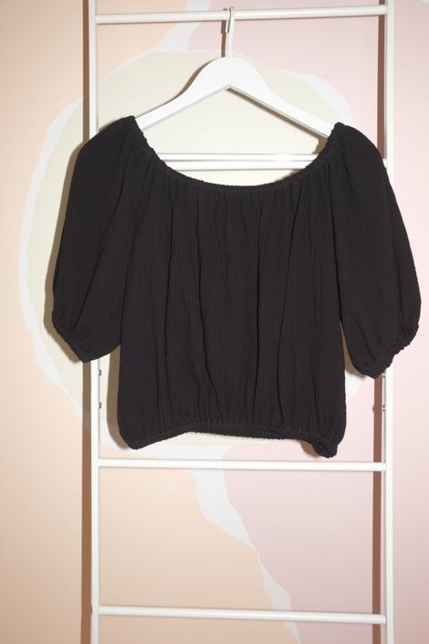 Carlisle Top, Organic Cotton Bubble Gauze in Black