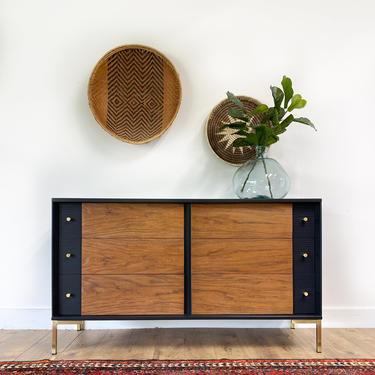 AVAILABLE-  Mid Century Modern black + wood dresser by JulieSimpleRedesign