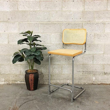 LOCAL PICKUP ONLY Vintage Bar Chair Retro 1980s Marcel Breuer Style Cane Wood and Silver Chrome Metal Tall Stool for Kitchen Island or Bar by RetrospectVintage215