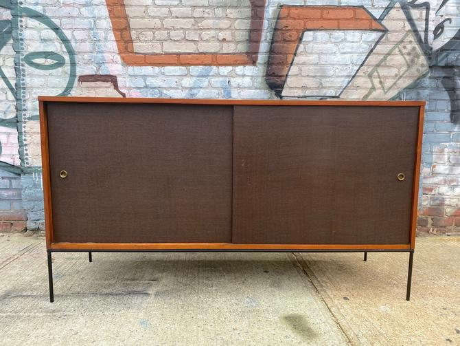 "Paul mccobb mid century modern credenza sideboard dresser maple 4 drawer brown doors iron base legs 60"" walnut finish by symmetrymodern"