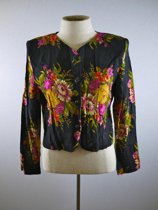 Black Floral Button-Down Cardigan Blouse by citybone